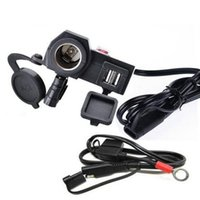 douilles plus légères achat en gros de-Moto 2.1A USB chargeur étanche allume-cigare prise 2 en 1 Power Charger moto guidon avec interrupteur 1.5M ligne