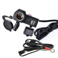 guidão usb venda por atacado-Motocicleta 2.1A carregador USB À Prova D 'Água Tomada de Isqueiro 2 em 1 Carregador De Energia guidão da motocicleta com interruptor de 1.5 M linha