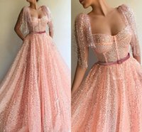 Wholesale champagne sweetheart neckline prom dress for sale - Group buy 2020 New Blingbling Pink Sequined Evening Prom Dresses Formal Wears Poet Sleeveless Square Neckline Illusion Vestidos Princess Gowns