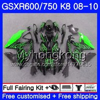 carenagem k8 venda por atacado-Kit Para SUZUKI GSXR 750 600 GSX-R750 GSXR600 2008 2009 2010 297HM.52 GSX R600 R750 600CC GSX-R600 K8 GSXR750 08 09 10 Chama Verde Fairing