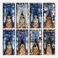 kaya pantolonu toptan satış-Ünlü Marka Pierre Rock Biker Jeans Erkekler Denim Yırtık Kot Yırtık Pantolon Siyah Ucuz Erkek Kot Pantolon Dantelli Erkek D2 Jean # 0808