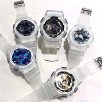 ventes de bracelets achat en gros de-Nouvelle vente chaude montres de sport pour hommes avec bracelet en caoutchouc transparent G montres cadeau horloge populaire Date Day Day montres analogiques hommes choc Saat