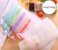 köpük temizleyici toptan satış-Sabun Torbası Köpük Mesh Köpüklü Temizleme Banyosu Sabun Sabunu Eldiven Net Banyo Temizleme Eldivenleri Mesh Banyo Süngerleri