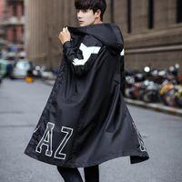 schwarze grabenmänner großhandel-2019 frühling herbst koreanischen stil männer schwarz hiphop reißverschluss langen trenchcoat kapuzenjacke männer oversize mode mantel mantel 5XL