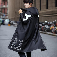 capa de trinchera al por mayor-2019 Primavera otoño estilo coreano hombres hiphop negro con cremallera larga gabardina chaqueta con capucha hombres sobredimensionado abrigo capa 5XL