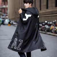 homens korean jaquetas longas venda por atacado-2019 primavera outono estilo coreano homens hiphop preto com zíper longo trincheira casaco com capuz homens jaqueta oversize moda casaco manto 5XL