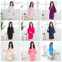Wholesale nightgowns for kids resale online - Kids Satin Rayon Solid Kimono Robe Bathrobe Children Nightgown For Spa Party Wedding Birthday