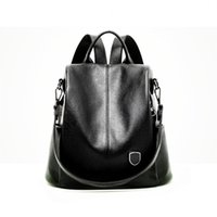 Wholesale genuine leather rucksack resale online - Backpack Rucksack Lady Genuine Leather Shoulder Bag Fashion Women Bag Lady Tote Black Woman Backpack Style