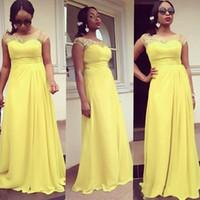 vestidos de baile amarelo à venda venda por atacado-Na Venda Barato Amarelo Longo Prom Dresses Chiffon Cap Mangas Ilusão Decote Applique Plissado Vestidos de Festa