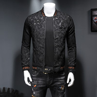Wholesale small long beads for sale - Group buy 2019 autumn and winter new tide models men s clothing embroidered crown small bee dark flower medal jacket slim zipper jacket