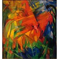 pinturas a óleo animais abstratos venda por atacado-abstratas Pinturas Animais na Paisagem Franz Marc óleo sobre tela Decoração da parede pintada à mão