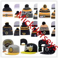 ingrosso cappelli con cappuccio montato a snapback-Boston Bruins Snapback Caps regolabile Cappello Cappello di lana ricamo Boston Bruins beanies Caps un formato misura più