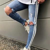 desgaste de los vaqueros de la calle de los hombres al por mayor-2019 Moda Hip Hop Hombres Lado Blanco Imprimir Franja Agujeros Ripped Skinny Jeans Hombre Distressed Stretch Denim Pantalones Street Wear