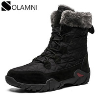 Wholesale platform warm snow boots resale online - Winter Snow Boots For Men Warm Thick Plush Platform Ankle Boots Mens Outdoor Waterproof Hiking Hunting Anti Slip Flat Shoe