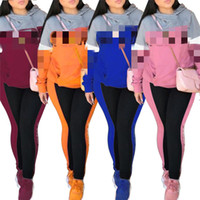 Wholesale pink girl suit pieces for sale - 2019 New Women Letter Printed Tracksuits Girls Long Sleeve Casual Two Piece Sets Hoodies Leggings Sportswear Jogger Suits Casual CRJN4102