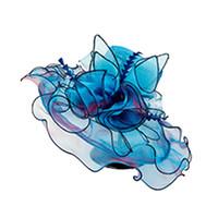 sombrero de ala ancha floral para mujer al por mayor-Verano Elegante Flor Sombreros para el sol Mujeres Floral Vintage Wide Wide Brim Wedding Natural Lady Party Hat 6 colores 2019