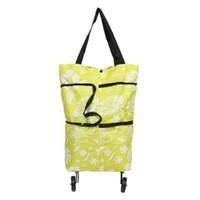 katlanır taşıma çantası dükkanı toptan satış-Basit Katlanabilir Taşıması Kolay Alışveriş Çantaları Oxford Bez Tote Alışveriş Arabası Arabası Saklama Çantası Katlanır Kullanımlık Süpermarket Çantası