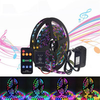uzaktan kumandalı güç şeritleri toptan satış-Müzik Kontrolü Rüya Renk LED Şerit Set WS2811 LED Şerit Işık Müzik Uzaktan Kumanda Ile 5050 RGB DC12V 12 V 3A Güç Kaynağı