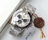 Wholesale round panda resale online - Men s Automatic Watches Chronograph Watch Cal Movement Panda Dial Full Steel Men Eta Cosmograph Sport JH Baselworld Wristwatches