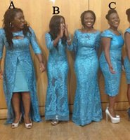 blaues umwandelbares kleid großhandel-Blaugrün blaue Brautjungfer Kleider Lace Mismatch gleiche Farbe anderen Stil Südafrika Mermaid Convertible formale Abendkleider Robes de Demoise