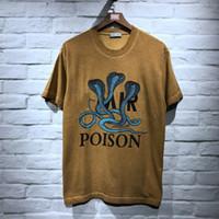 gömlek için en iyi pamuk toptan satış-En İyi Kalite Kobralar Baskılı Kadın Erkek Pamuk T Shirt tees Hiphop Streetwear Erkekler Kısa Kollu T gömlek Yaz Tarzı