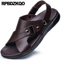 ingrosso sandali in cotone marrone-Open Toe Designer Water Waterproof Size 45 Beach Brown Italiano 46 Sandali Uomo in pelle Scarpe estive Fashion Runway Strap 2018 # 143061