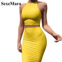 ingrosso set gonna gialla-Anjamanor Crop Top e gonna due pezzi Dress Set Yellow Club Summer Outfit vestiti sexy per le donne Set di corrispondenza D53-az17 Q190507