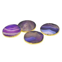 Wholesale agate slice gift for sale - Group buy Set of Natural Agate Slices Stones Beverage Coasters Cup Mat Irregular Crystals Collection Home Decoration Drink Gift inch
