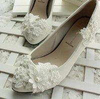 ingrosso scarpe da damigella d'onore in pizzo avorio-All'ingrosso-Donne Lace Flower Avorio Scarpe da sposa per le donne da sposa Tacchi alti Scarpe da sposa Scarpe da damigella d'onore da sposa