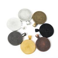 ingrosso bobine di metallo-25 MM Allloy timbratura Blanks pendente della collana in metallo impostazione Cabochon cammeo base vassoio castone in bianco gioielli 8 colori