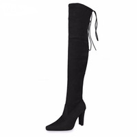 новые сексуальные ботинки оптовых-DoraTasia Brand New Women Shoes Woman Boots Large Size 31-43 Autumn Over The Knee Boots Thin High Heels Shoes Sexy Party Boot