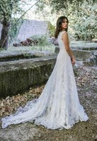 Wholesale simple lace bridal wedding dress for sale - Lihi Hod New Mermaid Wedding Dresses Off Shoulder Lace Boho Bridal Gowns See Through Beach CountryTrumpet Wedding Dress Simple