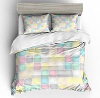 conjuntos de cama rosa e cinza venda por atacado-3 Peças Rainbow Bedding Set 3D Digital Abstrato Geométrica Rosa / Amarelo / Preto / Verde / Azul / Cinza Quadrados Colcha Capa de Edredão Set