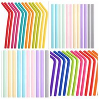 Wholesale cocktail party supplies for sale - Group buy Silicone Straws Styles Food Grade Fold Drinks Recycling Silicone Cocktail Straws Candy Color Straw Party Supplies Straight Curve Straw