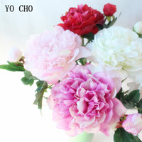 peônia vermelha artificial venda por atacado-Flores artificiais Peônia Casamento Rosa Artificial Peônia Branco Rosa Vermelho Flores De Seda Bouquet Casa Jardim Decorações Flor YO CHO