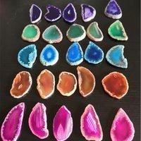 40-50mm Natural Agate Slice With Hole Irregular Crystal Slice Healing Reiki Stone Quartz Pendant Mineral Home Decor