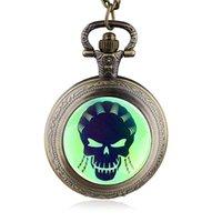 eski kafatası seyretmek toptan satış-Yeni Vintage Kuvars Pocket Watch Yeşil Kadın Kafatası Desen Fob Zincir İzle Erkekler Kadınlar HB882 Ile