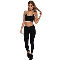 Wholesale red yoga pants for women for sale - 2019 Tracksuit for Women Sports Fitness Yoga suit Running gym Sport Crop Tops Sweatshirt Pants Sets Casual Suit Leisure Wear Vest and Pants