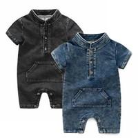 kinder denim overalls großhandel-Kinder Designer Kleidung Mädchen Jungen Strampler INS Säuglingskleinkind Denim Jumpsuits 2019 Sommer Boutique Baby Klettern Kleidung C6536