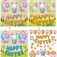 bunny kit großhandel-12 zoll Ostern Day Party Dekorative Sets Cartoon Kaninchen Bunny Form aluminium film Ballon Decor Kits WX9-1229