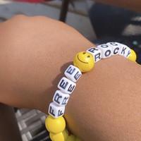cuentas amarillas negras al por mayor-19FW AWGE X FREE ROCKY Pulsera Lucky Rope Hip Hop Outdoor Street Accesorios de joyería Festival Gift Black Yellow Beads Pulsera HFYMSL002