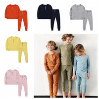 langarm-pyjama für kinder großhandel-Kinder Einfarbig Pyjamas Taste Dekoration Kinder Langarm Elastische Home Service Sommer Herbst Nachtwäsche Baby Kleidung Sets HHA500