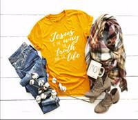 gelbe grafische t-shirts großhandel-Jesus ist die Wahrheit das Weisen-Leben-T-Shirt Christliches Slogan-Kreuz-grafisches Religions-Gläubiger-Hemd Ästhetisches Slogan-Gelb-T-Stücke
