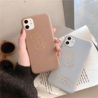 telefon fälle für iphone bär großhandel-Für Iphone 11 Pro Phone Case Xs Max Xr Einfache Bär 6 7 8 X Plus Hot Stamping Silikon Soft Cell Phone Cases
