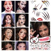 ingrosso adesivo temporaneo del tatuaggio-Adesivo per tatuaggi di Halloween Tattoo Face Paste Adesivo creativo cicatrice Horror Tatuaggi temporanei Adesivo impermeabile Decorazioni di HalloweenT2I5407