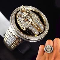 schwarzer diamant-bandring großhandel-Kühle männliche 18 Karat Gold Two Tone schwarzer Emaille Diamant Ring ägyptischen König Tutanchamun Ring Männer Hochzeit Partei Schmuck Größe 7-13