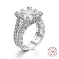 ingrosso anelli di diamanti delle donne-Luxury Womens Square Cluster Engagement 4ct SONA Diamond Architecture Ring Simulato Platinum moda nuziale belle gioiellerie