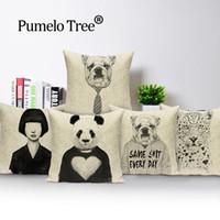 preto travesseiro animal venda por atacado-Retrato de animais fronha travesseiro branco preto cobre decorativos almofadas panda almofadas cão bonitos para cobertura de sofá personalizado