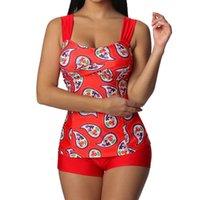 ligas de fêmeas sexy venda por atacado-Mulheres Plus Size Sexy Imprimir Suspensórios Diários Tankini Beachwear Acolchoado Swimwear Ternos de Verão Sem Mangas Fêmeas Holográficas