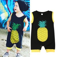 Wholesale baby boy coverall jumpsuits resale online - Baby Boy Girl pineapple Print jumpsuit Newborn Kid Sleeveless Coverall Romper Cotton Black Jumpsuit Playsuit Outfit Clothes